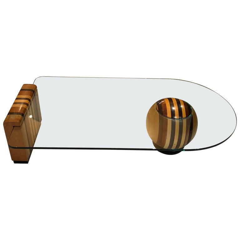 Massimo Vignelli Fine Woods and Glass Coffee Table, 1970s