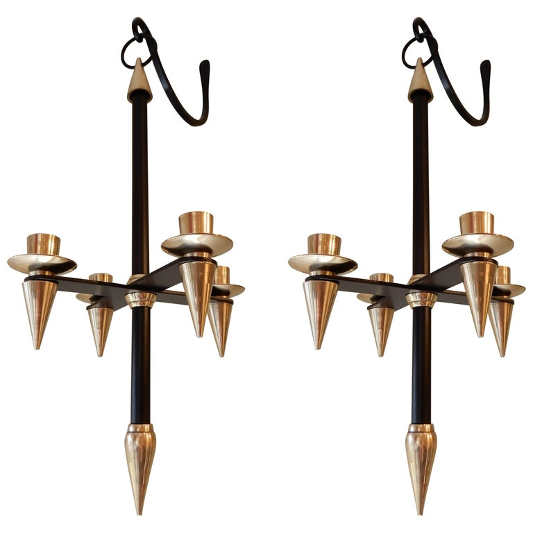 Pair of Mid Century Candle Wall Sconces. Attributed to Gio Ponti circa 1955