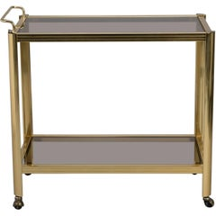 Two-Tier Brass and Glass Midcentury Bar Trolley