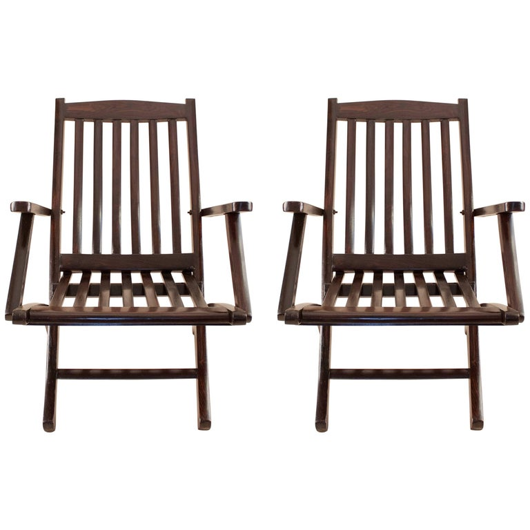 Pair of British Rosewood Folding Steamer Deck Chairs