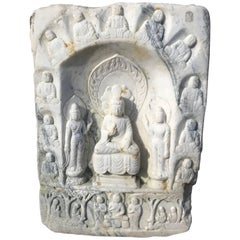 Chinese White Marble Garden Stone Buddha Guan Yin with Attendants Hand-Carved