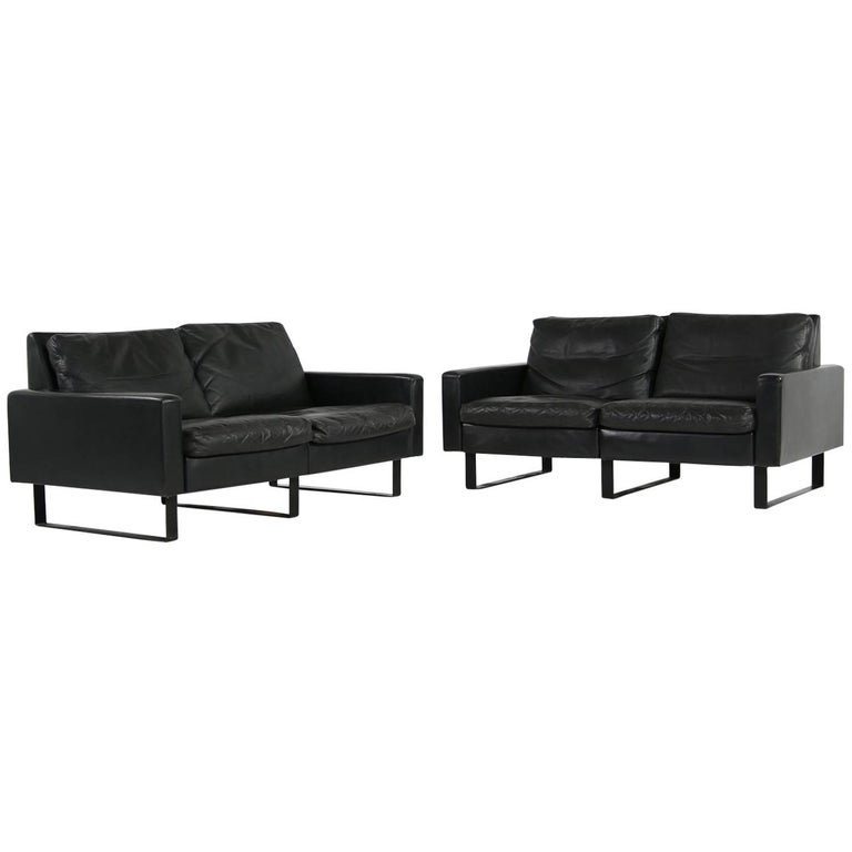 Beautiful minimalist modular sofa by Friedrich Wilhelm Moller for COR Germany (1968), rare early edition, black metal legs, modular system. For example it's possible to make two two-seat sofas, or a three-seat with chair or simply a four-seat as