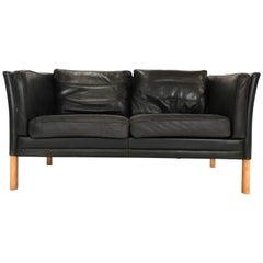 Børge Mogensen Style Black Scandinavian Danish Modern Leather Two-Seat Sofa