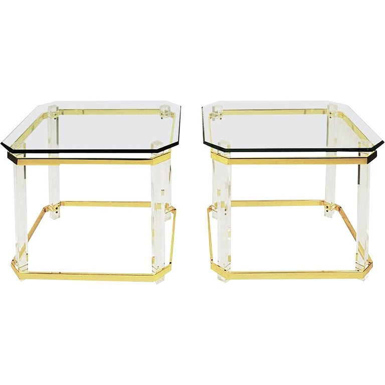 "Charles Hollis Jones Lucite, Brass and Glass ""Clipped Corner"" Side Tables For Sale"