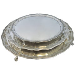 Nesting Set of Three Sterling Silver Footed Round Trays, English Hallmarked
