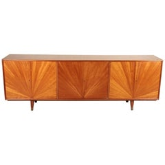 African Mahogany Sideboard with Starburst Design, circa 1960