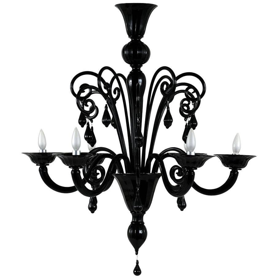 Italian Murano Glass Six-Arm Chandelier