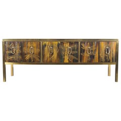 Vintage Mastercraft Credenza with Acid Etched Panels by Bernard Rohne