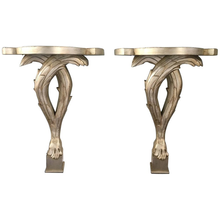 Serge Roche Wall Mount Console Tables, Pair
