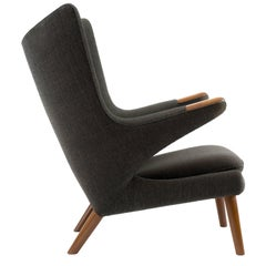 Hans J Wegner Papa Bear Chair in Original Charcoal Gray Wool Upholstery