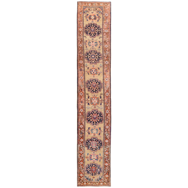 Antique Karabagh Caucasian Runner Rug. Size: 3 ft 10 in x 19 ft 6 in