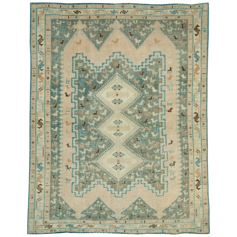 Midcentury Handmade Persian Tribal Accent Rug For Sale