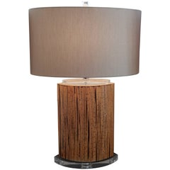 Mid-Century Danish Modern Bamboo and Lucite Table Lamp