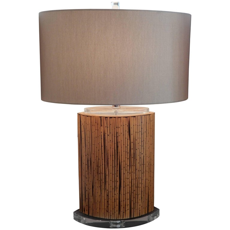 Mid-Century Danish Modern Bamboo and Lucite Table Lamp For Sale