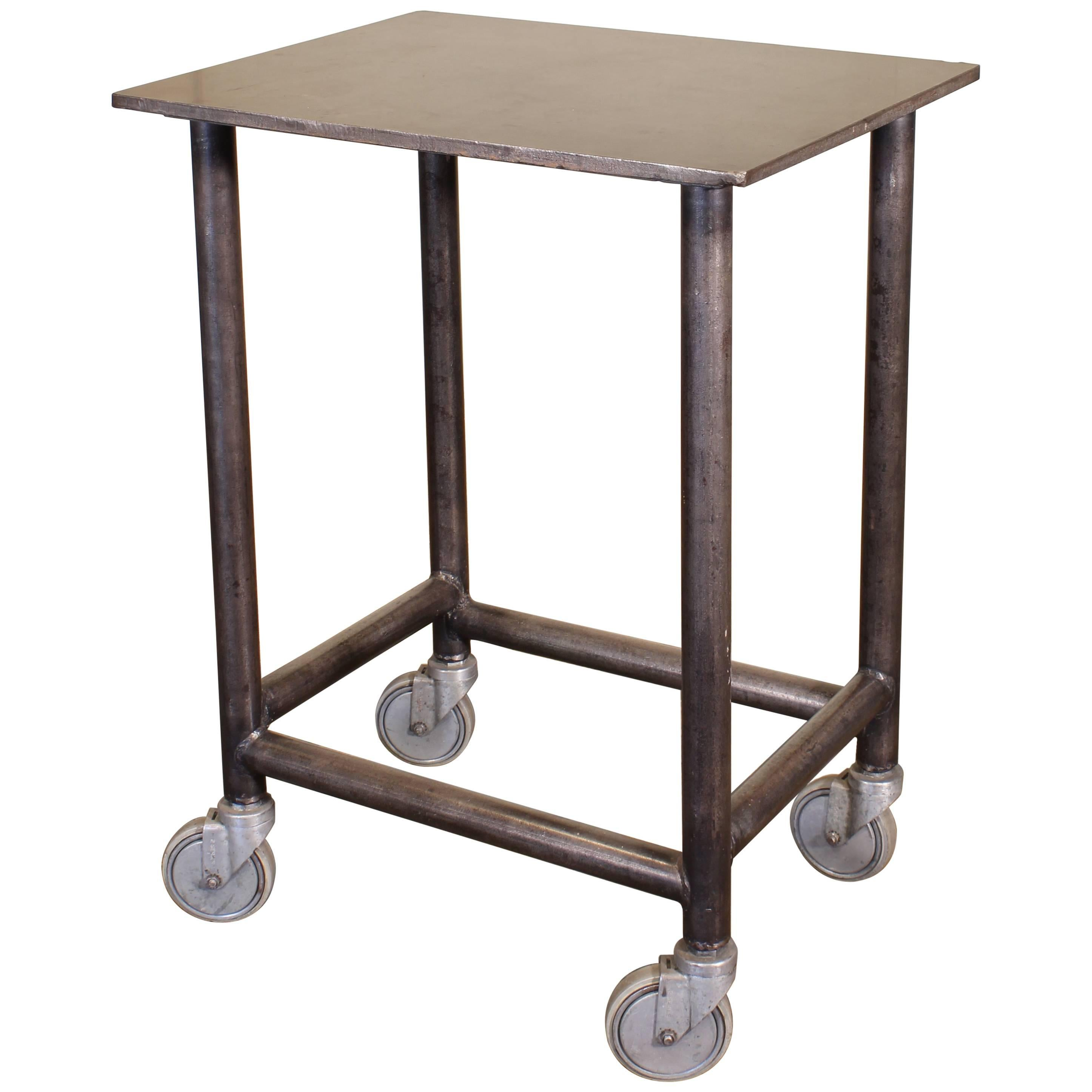 Industrial Rolling Bar Cart Steel and Iron Printer's Turtle Table