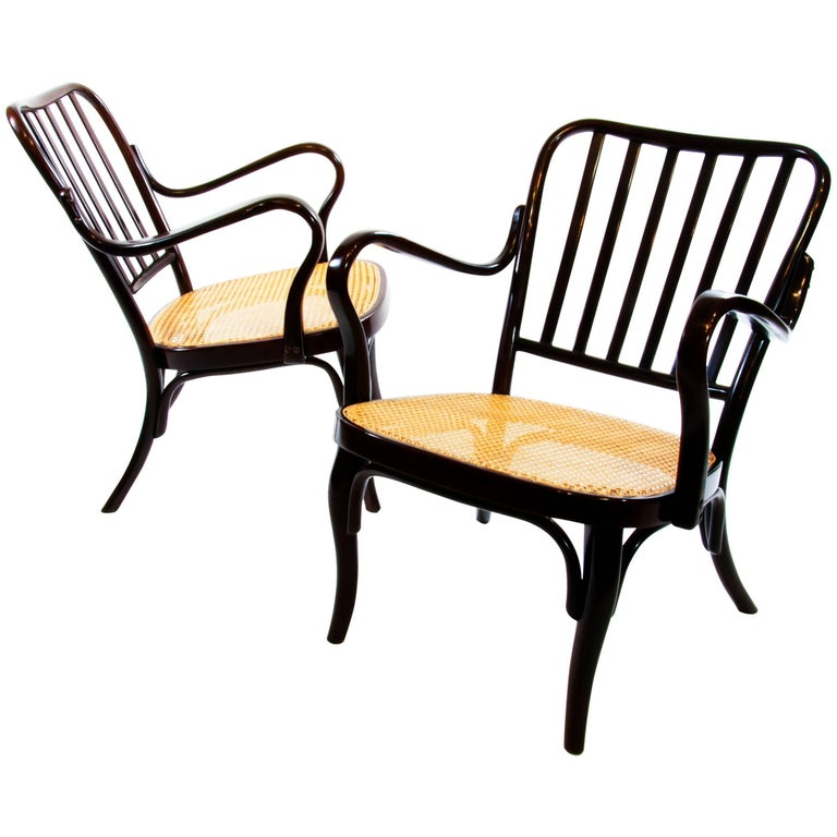 Pair of Josef Frank Bentwod Lounge Armchairs No 752 for Thonet 1930 Wickerwork