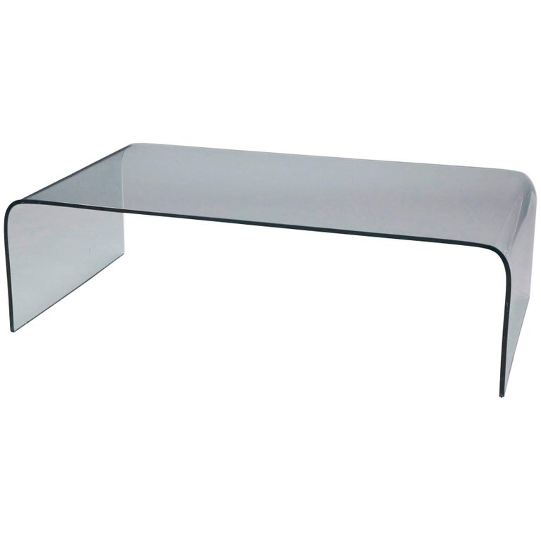 Glass Waterfall Coffee Table Attributed to Pace