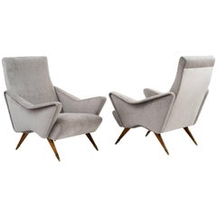Dynamic Pair of 1950s Italian Lounge Chairs