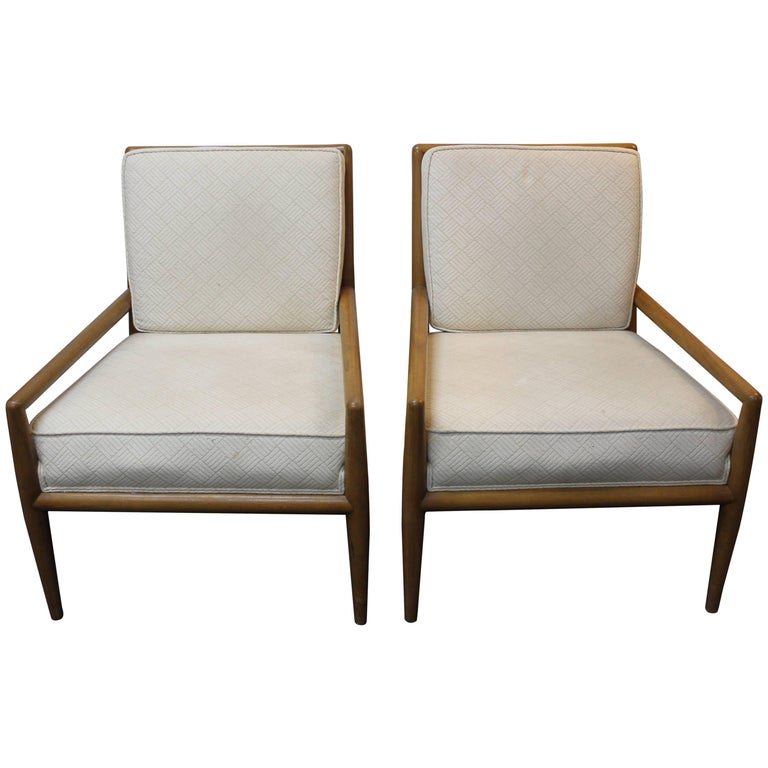 Pair of T. H. Robsjohn-Gibbings Lounge Chairs For Sale