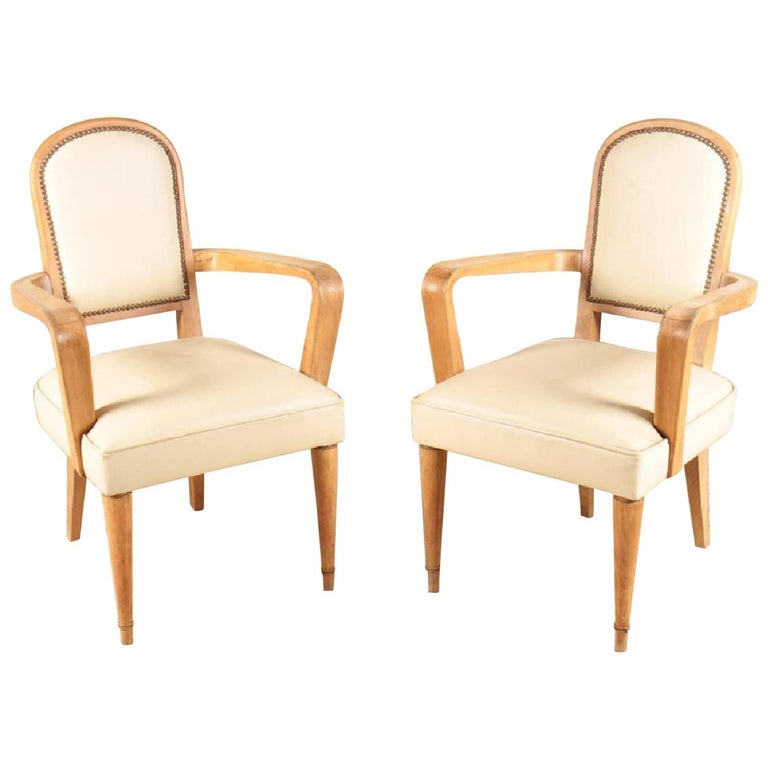 Pair of French Oak Armchairs, circa 1940 in the Style of Andre Arbus