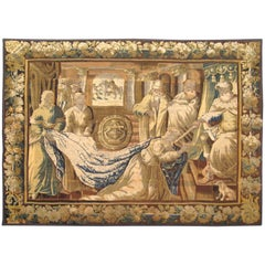 Antique 18th Century Flemish Biblical Tapestry, with Queen Esther & Ahashverosh