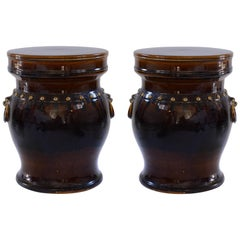 Pair of Dark Glazed Ceramic Stools