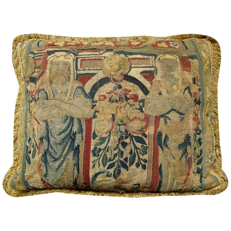 Antique Brussels Tapestry Pillow, circa 1650 77p