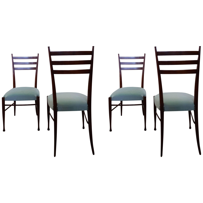 Guglielmo Ulrich, Italian Mid-Century Wooden Chairs with Blue Velvet Seats 1960s