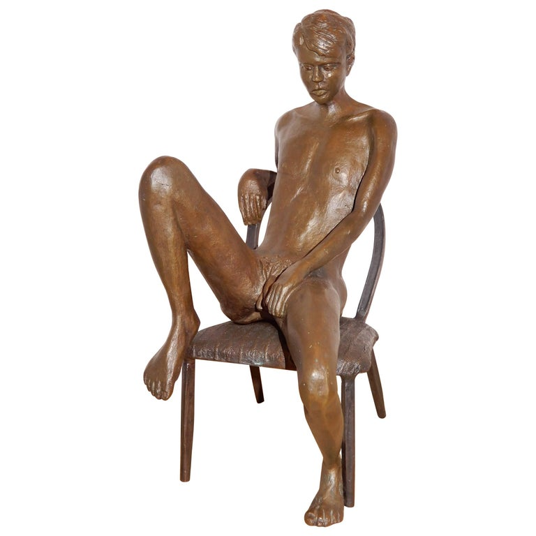 Male Bronze Nude by Artist Gerard Franc circa 1999 For Sale