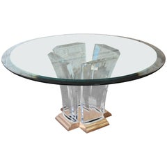 Jeffrey Bigelow Lucite, Brass, and Glass Dining or Center Table, 1984