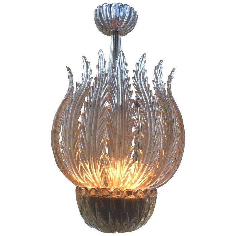 Italian Murano Glass Chandelier Attributed to Barovier & Toso