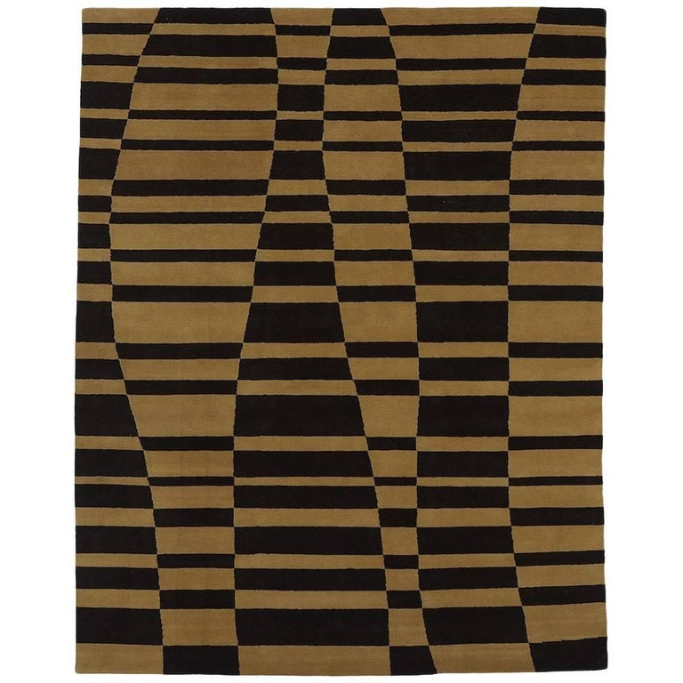Angela Adams Mack, Brown Area Rug, 100% New Zealand Wool, Hand-Knotted, Modern For Sale