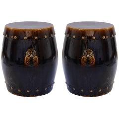 Pair of Dark Glazed Ceramic Stools