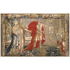 Antique 18th Century Flemish Historical Tapestry w/ the Roman General Coriolanus