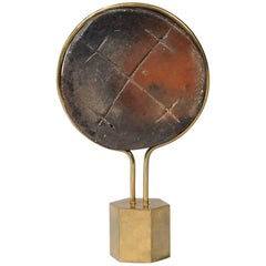 African Carved Wood Lip Disc on Brass Stand