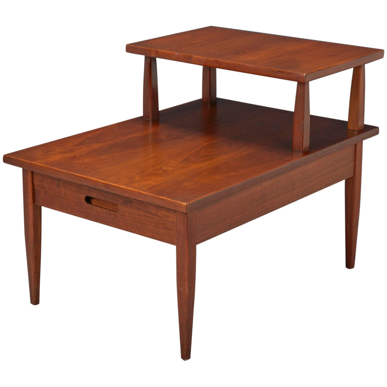 Walnut Two-Tiered Side Table Attributed to T.H. Robsjohn-Gibbings for Widdicomb
