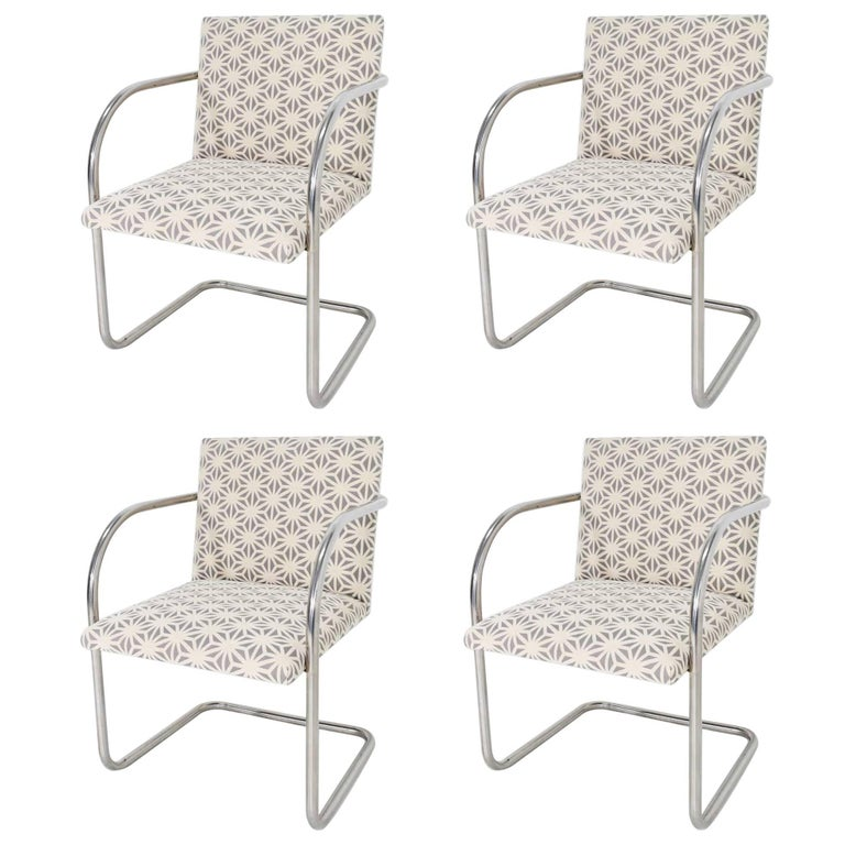Set of Four Mies Van Der Rohe Brno Chairs by Knoll For Sale