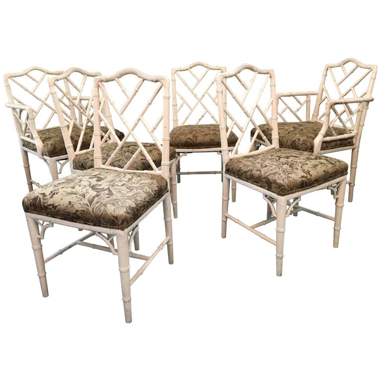 Chinese Chippendale Faux Bamboo Dining Chairs - Set of Six