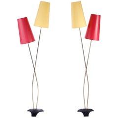 Pair of Floor Lamps by Rupert Nikoll, Brass Yellow Red, Austria, 1960