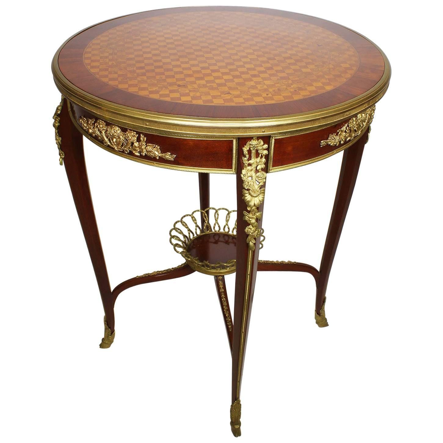 French Louis XV Style Ormolu-Mounted and Marquetry Gueridon Side Table