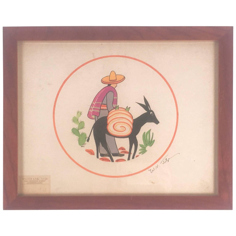 Art Deco Walter Karl Titze MexicanThemed Drawing for a Dinner Plate For Sale