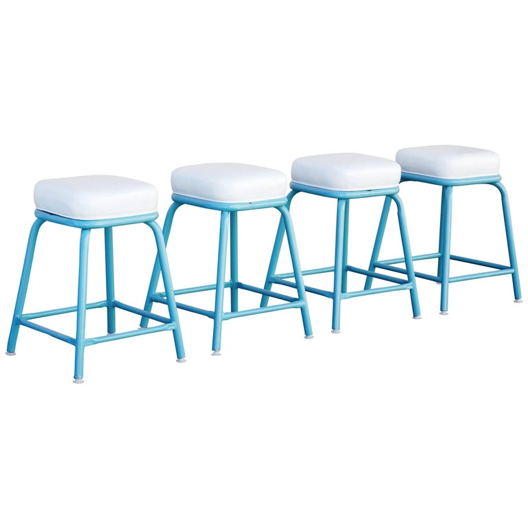 Set Of Four Machine Age Stools In Tiffany Blue For