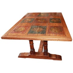 French Trestle Table with Unique Painted Top