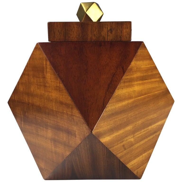 Maitland Smith Geometric Octagonal Mahogany and Brass Lidded Box Midcentury
