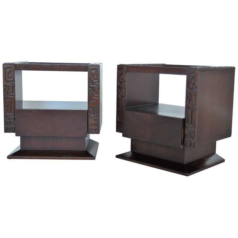 Midcentury Nightstands Bedside Tables with Abstract Carving, a Pair