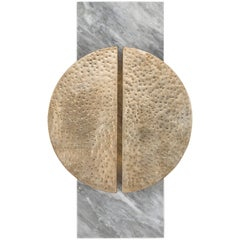 HALO SCONCE - Modern Hand-Forged Leafing Sconce on a Marble Back Plate