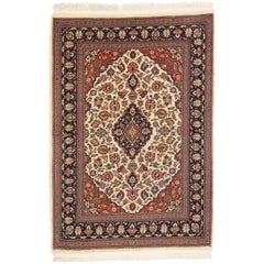 Vintage Persian Qum Silk Rug with with French Rococo Style