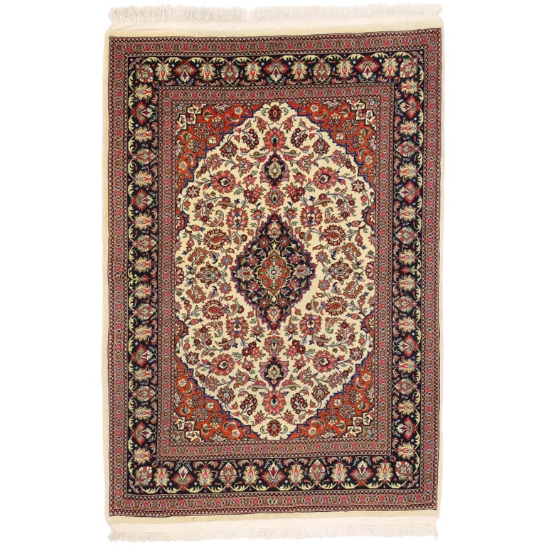 Vintage Persian Qum Silk Rug with Traditional Style