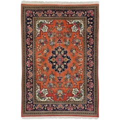 Orange Persian Qum Floral Silk Rug with French Rococo Style