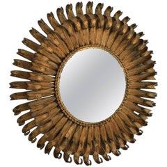 Hollywood Regency Sunburst Mirror Wrought Iron Brutalist Era